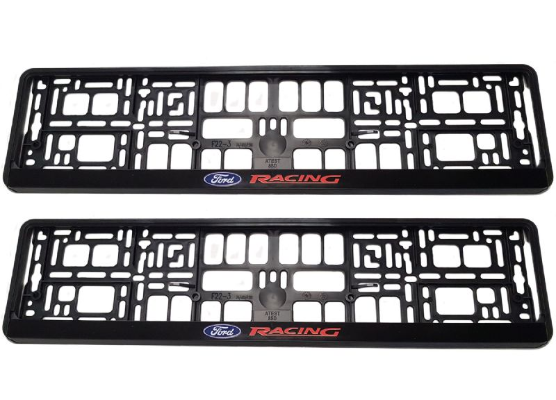 2 x Ford Racing Number Plate Holder Surround Mounting | Black + Red + Blue